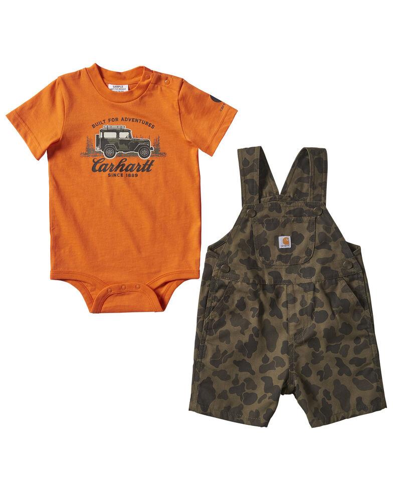 Carhartt Infant Boys' Camo Print Graphic Onesie & Shortall Set, Camouflage, hi-res