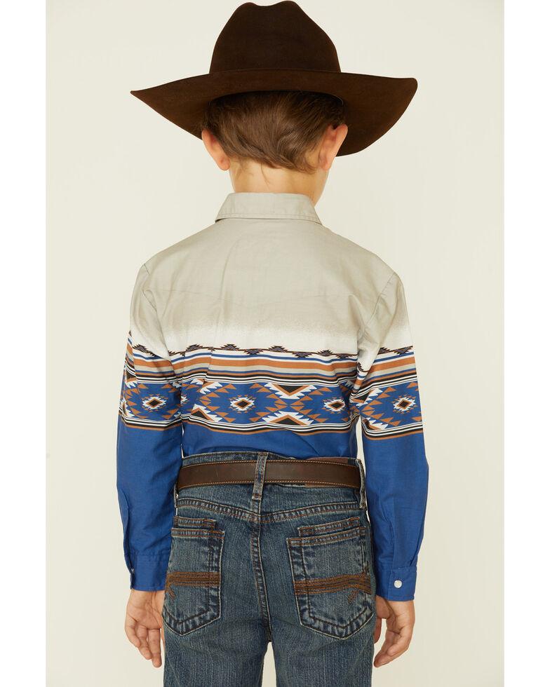 Roper Boys' Vintage Arizona Aztec Border Print Long Sleeve Snap Western Shirt , Blue, hi-res