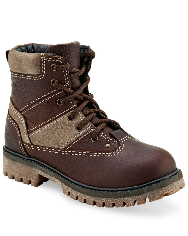 """Old West Boys' 4.5"""" Brown Hiker Boots - Round Toe, Rust Copper, hi-res"""