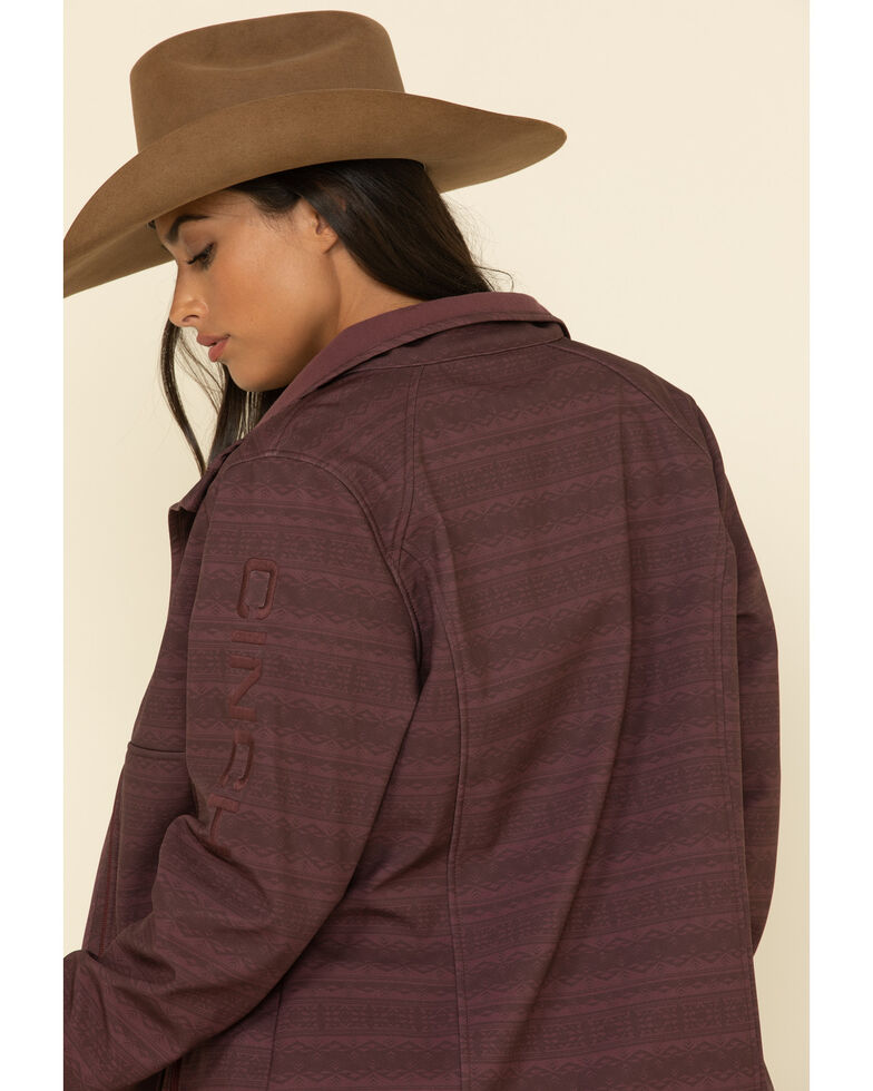 Cinch Women's Burgundy Print Bonded Jacket  , Burgundy, hi-res