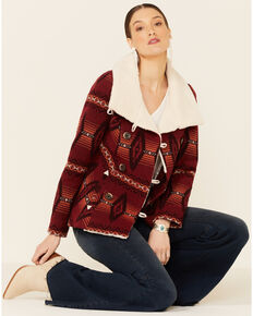 Powder River Outfitters Women's Red Aztec Print Jacquard Button-Front Wool Coat , Red, hi-res