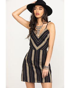 Shyanne Women's Stripe Lace Up Dress, Black/tan, hi-res