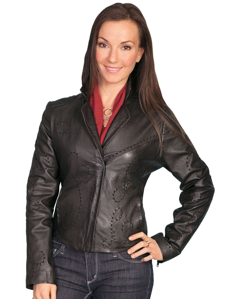 Scully Whipstitch Lamb Jacket, Black, hi-res