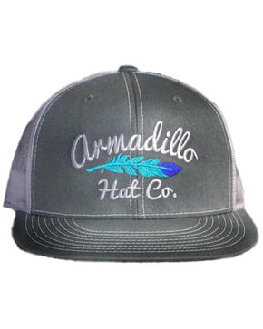Armadillo Hat Co. Men's Little Wing Feather Trucker Cap, Grey, hi-res