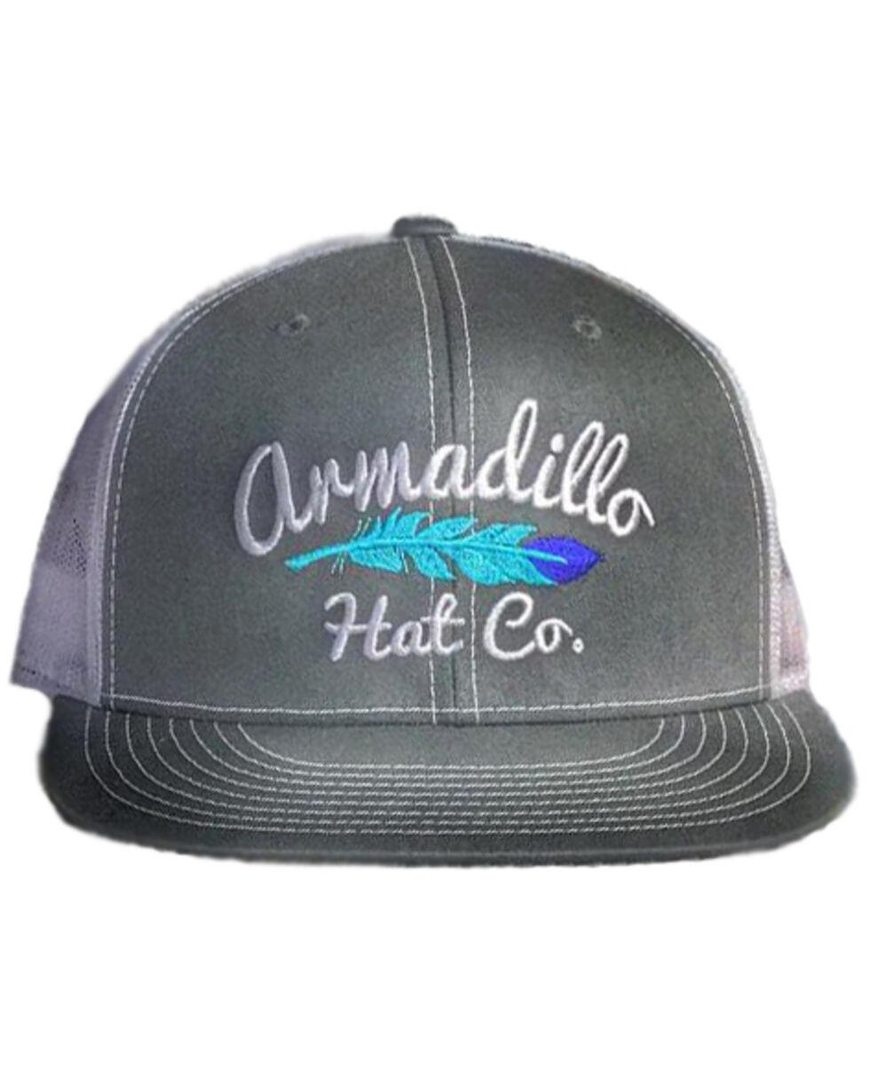 Armadillo Hat Co. Men's Little Wing Feather Trucker Cap, Grey, hi-res