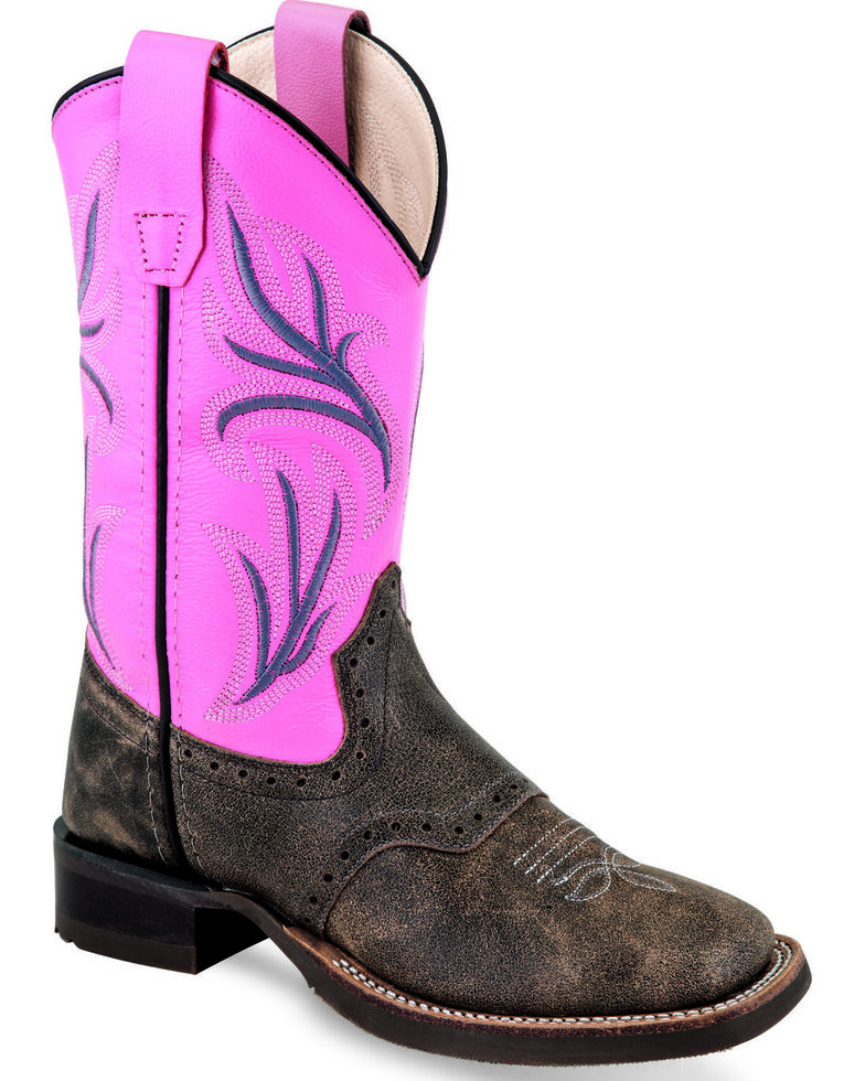 Old West Youth Girls' Bright Pink Western Boots - Wide Square Toe, Pink, hi-res