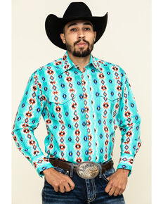 Wrangler Men's Silver Edition Vertical Aztec Checotah Striped Long Sleeve Western Shirt , Turquoise, hi-res