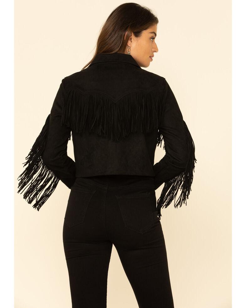 Wrangler Retro Women's Black Faux Suede Fringe Crop Jacket , Black, hi-res
