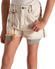 Idol Mind Girls' Embroidered Denim Shorts, Ivory, hi-res