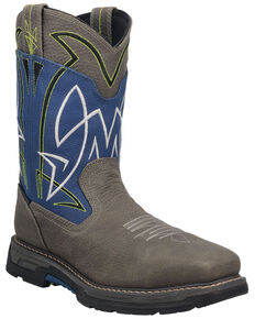 "Dan Post Men's 11"" Storm Surge Waterproof Western Work Boots - Composite Toe , Blue, hi-res"