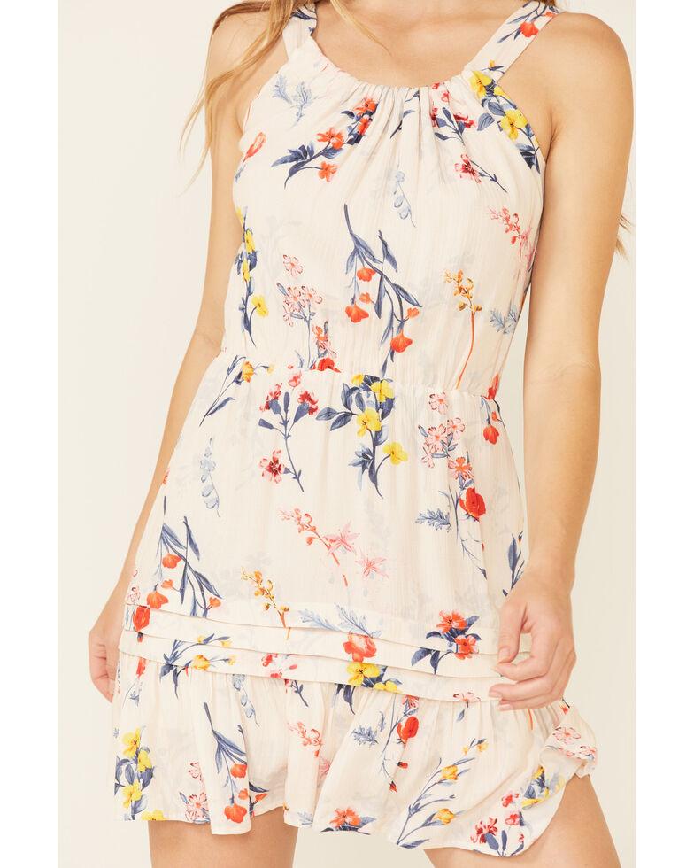 Miss Me Women's Ivory Floral Cutout Halter Dress, Ivory, hi-res