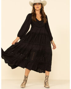 Free People Women's Mockingbird Cream Maxi Dress, Black, hi-res