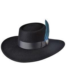 Bullhide Black Miss Me More Premium Wool Western Gambler Hat , Black, hi-res