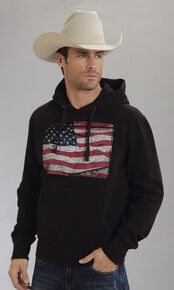 Roper Americana Collection American Flag Hooded Sweatshirt, Black, hi-res