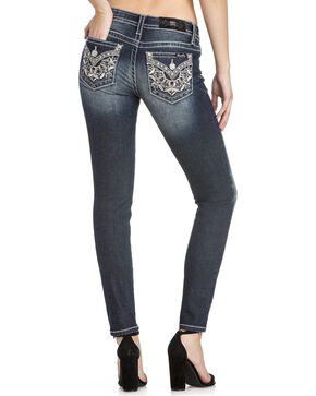 Miss Me Women's Metallic Studded Skinny Jeans, Blue, hi-res