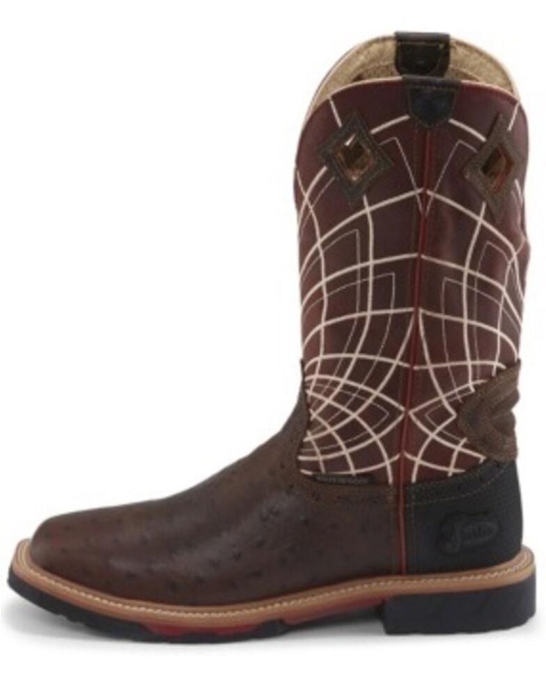Justin Men's Derrickman Ostrich Print Western Work Boots - Soft Toe, Rust Copper, hi-res