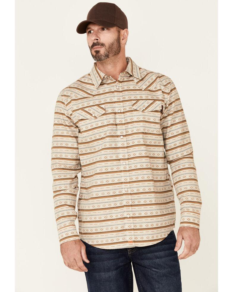 Cody James Men's FR Tan Striped Long Sleeve Work Shirt , Tan, hi-res