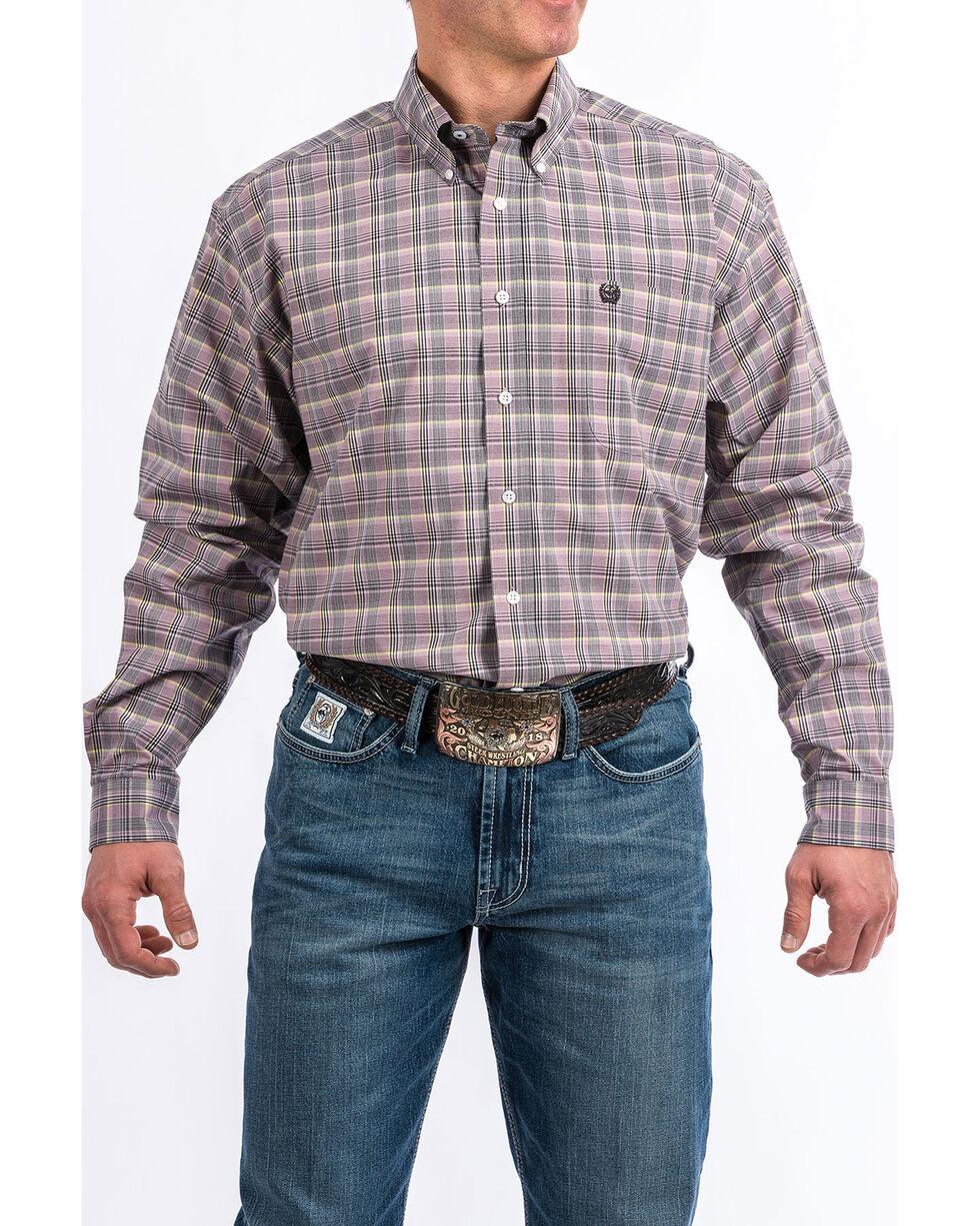 Cinch Men's Light Purple Plaid Long Sleeve Western Shirt , Light Purple, hi-res