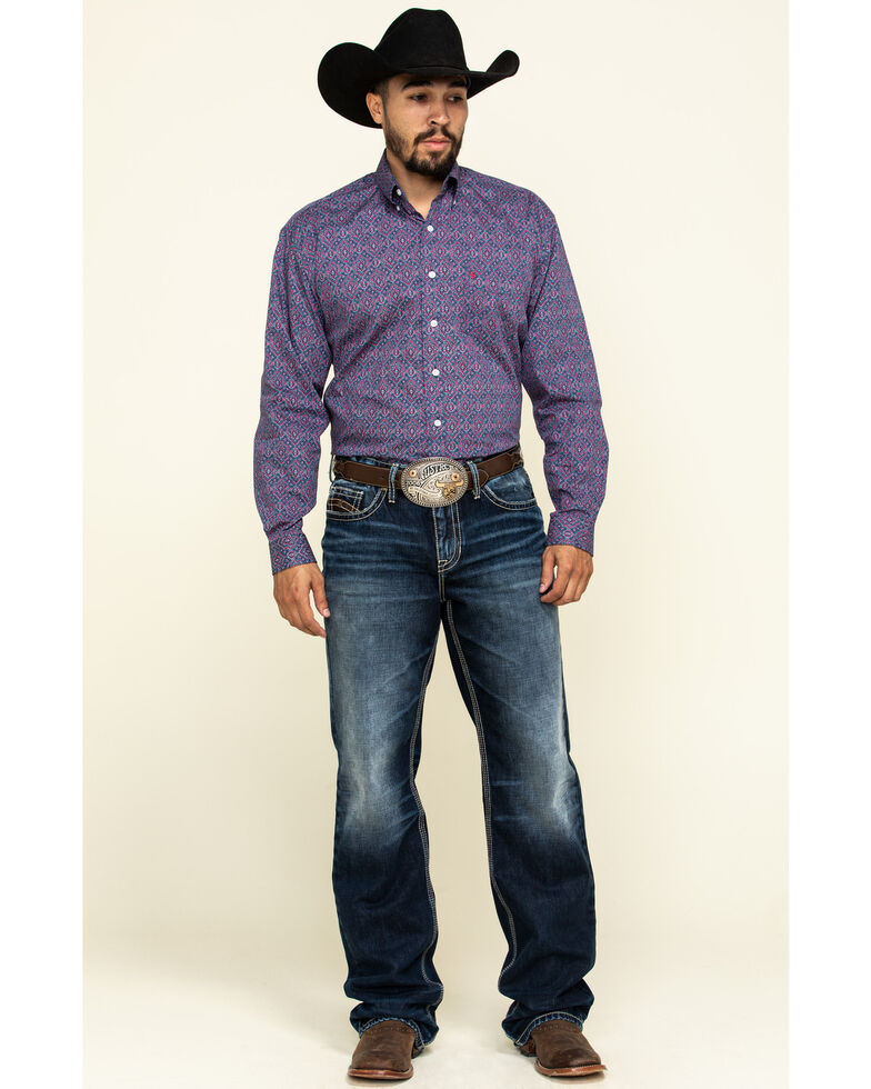 Stetson Men's Classic Medallian Geo Print Long Sleeve Western Shirt , Blue, hi-res