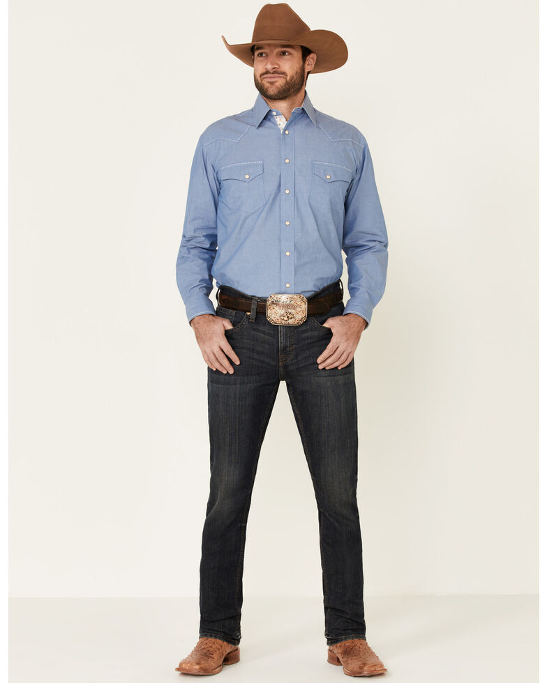 Rough Stock By Panhandle Men's Blue Chambray Fancy Snap Long Sleeve Western Shirt , Blue, hi-res