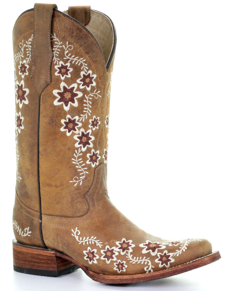 Circle G Women's Floral Embroidery Western Boots - Square Toe, Tan, hi-res