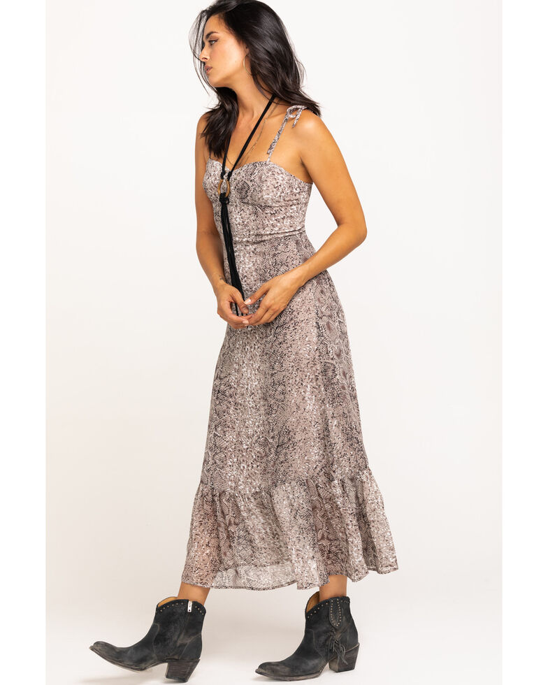 En Creme Women's Snake Ruffle Midi Dress , Grey, hi-res