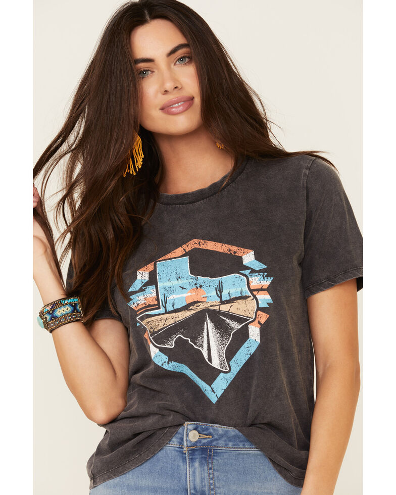 Rock & Roll Denim Women's Texas State Desert Road Graphic Tee , Charcoal, hi-res