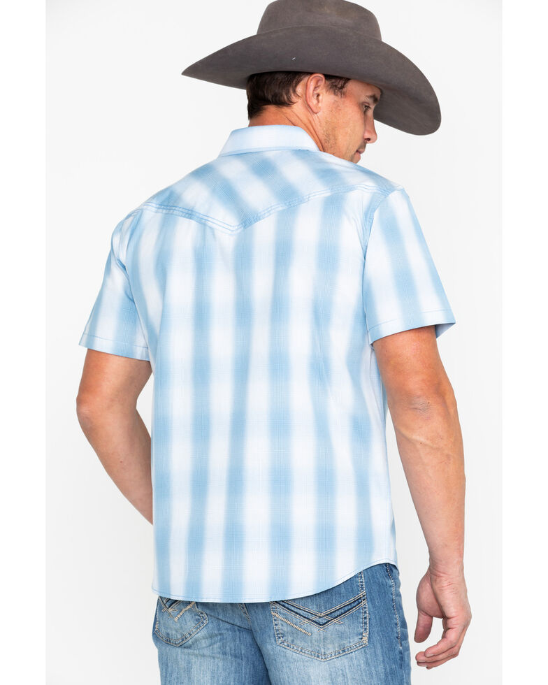 Cody James Men's Still Waters Ombre Plaid Short Sleeve Western Shirt , Light Blue, hi-res