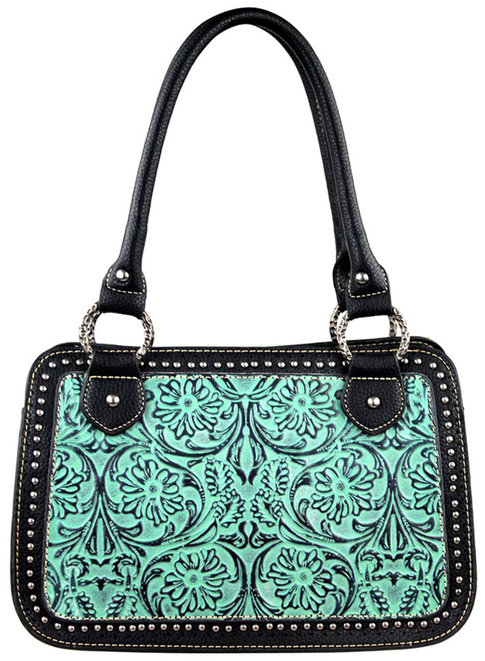 Montana West Trinity Ranch Tooled Handbag with Studs, Turquoise, hi-res