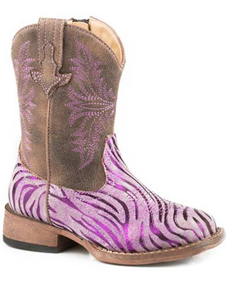 Roper Girls' Metallic Zebra Western Boots - Square Toe, Purple, hi-res