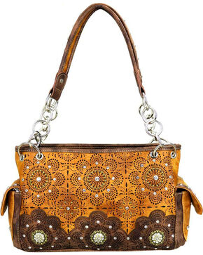 Montana West Women's Brown Floral Concealed Handgun Satchel , Brown, hi-res