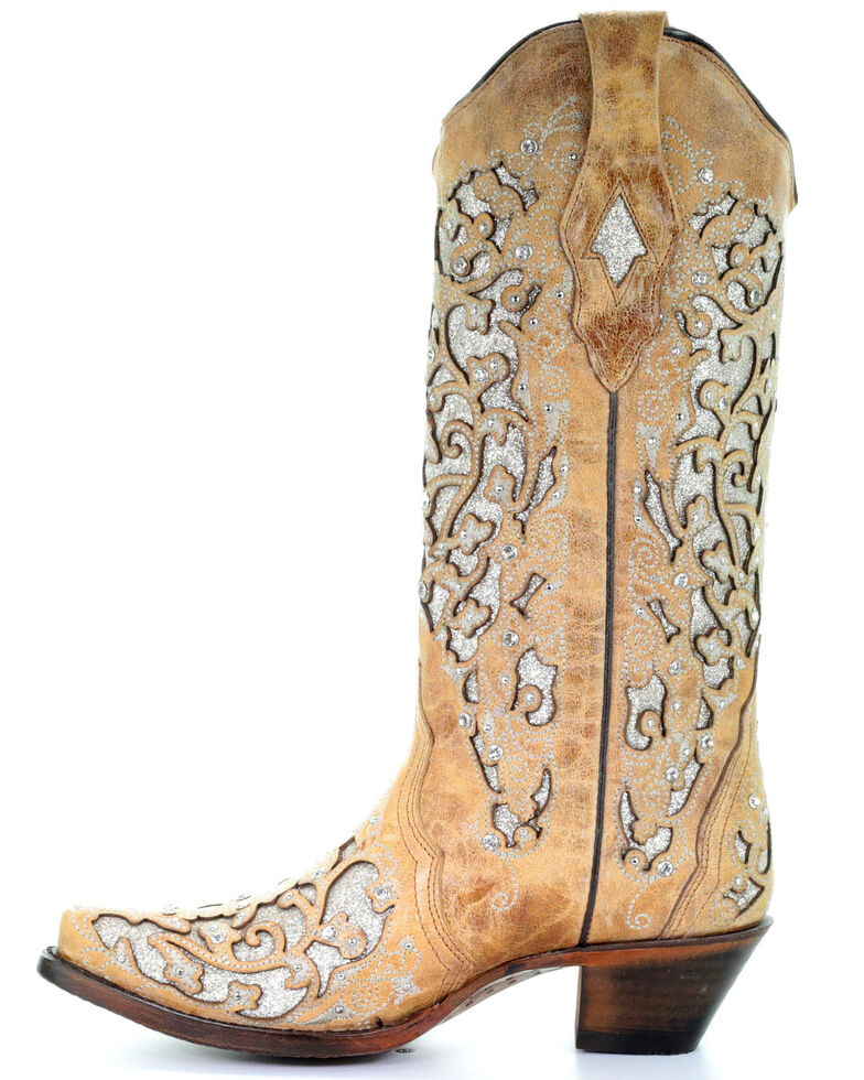 Corral Women's Glitter Floral Inlay Western Boots - Snip Toe, Beige/khaki, hi-res