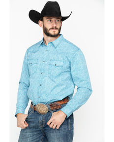 Cody James Men's Windy Meadow Floral Long Sleeve Western Shirt , Turquoise, hi-res