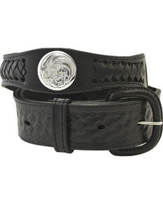 Western Express Men's Silver Concho Belt , Black, hi-res