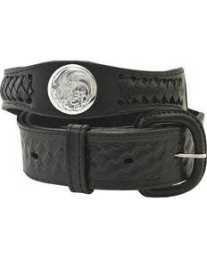 Western Express Men's Silver Concho Belt , Black, hi-res