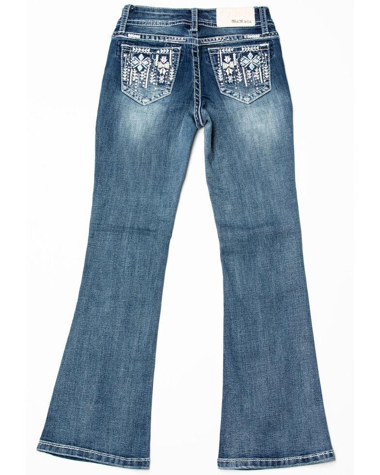 Grace in LA Girls' Aztec Pocket Bootcut Jeans , Blue, hi-res