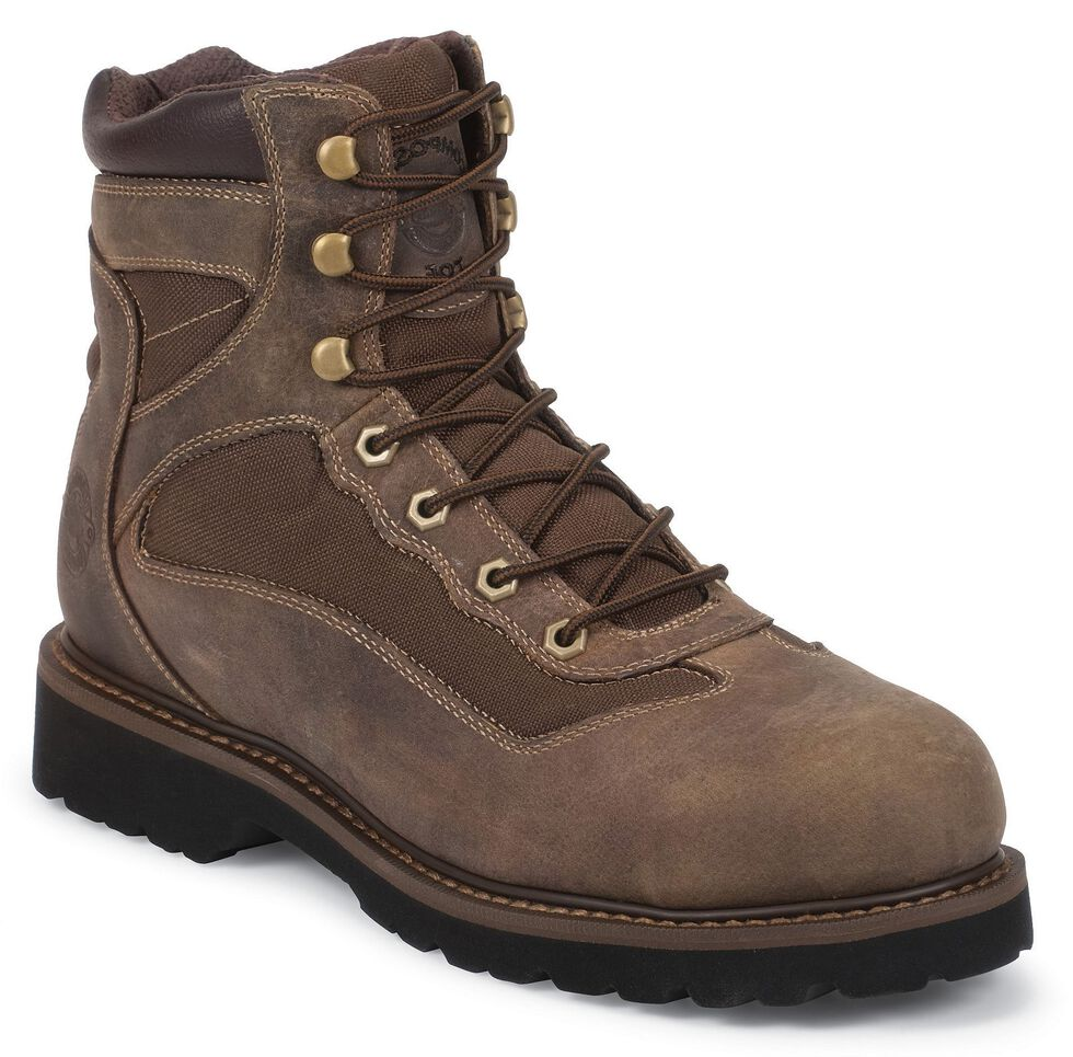 """Justin Men's Scrubland 6"""" Lace-Up Boots - Composition Toe, Brown, hi-res"""