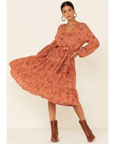 Luna Chix Women's Floral Belt Maxi Dress , Pecan, hi-res