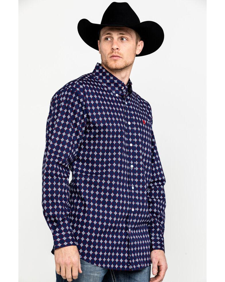 Cinch Men's Navy Geo Print Button Front Long Sleeve Western Shirt , Navy, hi-res