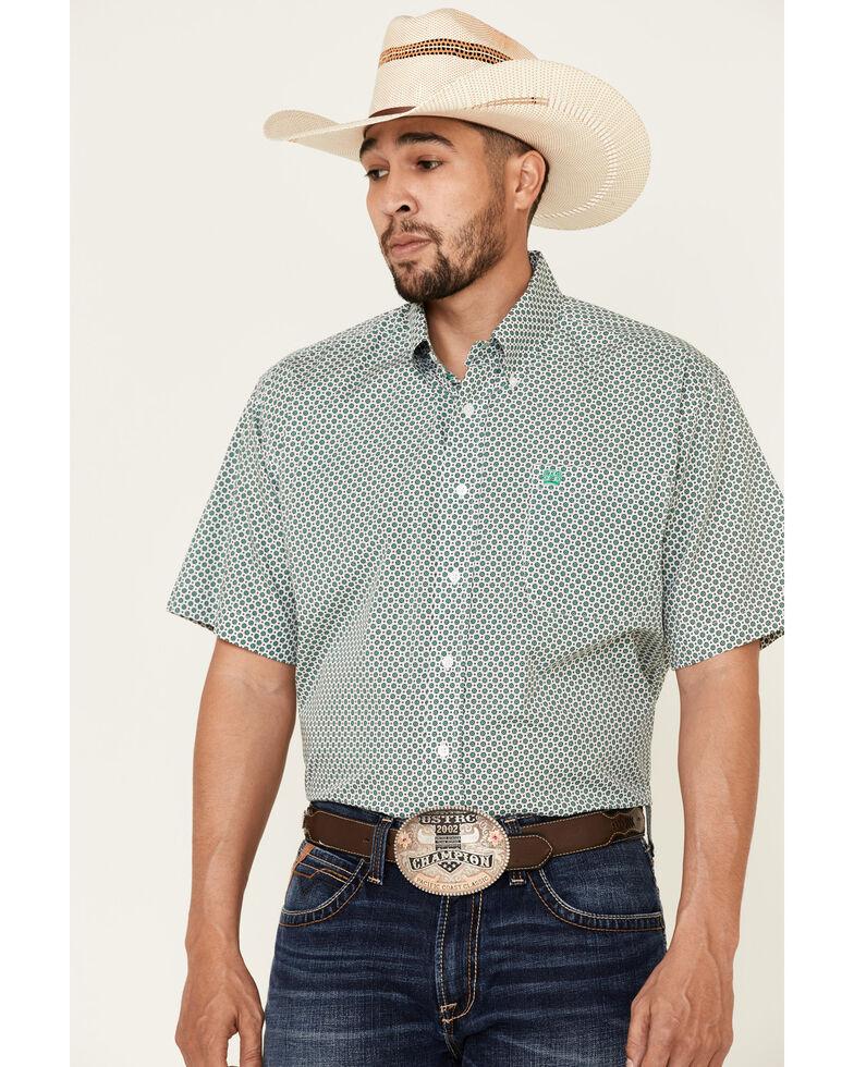 Cinch Men's White Small Geo Print Short Sleeve Western Shirt , White, hi-res