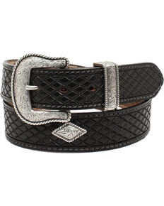 Nocona Men's Fort Worth Black Leather Belt, Black, hi-res