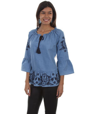 Honey Creek by Scully Women's Denim Peplum Long Sleeve Blouse, Blue, hi-res