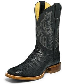 Justin Men's Exotic Caiman Western Boots - Wide Square Toe, Black, hi-res