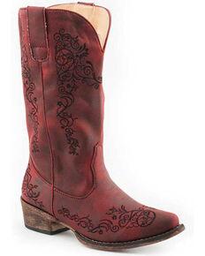 Roper Women's Judith Western Boots - Snip Toe, Red, hi-res