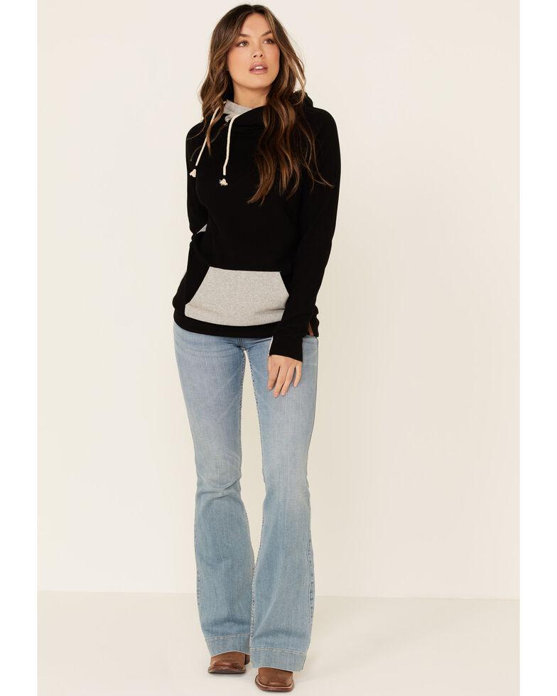 Ampersand Avenue Women's Black Herringbone Contrast Hooded Sweatshirt , Black, hi-res