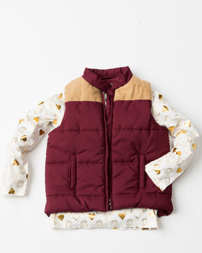 Shyanne Girls' 2-Fer Puffer Quilted Printed Knit Vest , Purple, hi-res