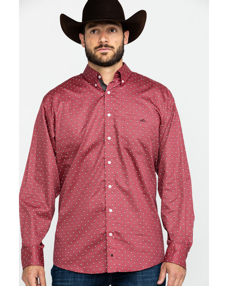 Resistol Men's Sycamore Geo Print Long Sleeve Western Shirt , Red, hi-res