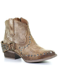 Circle G Women's Harness & Studs Booties - Round Toe, Honey, hi-res