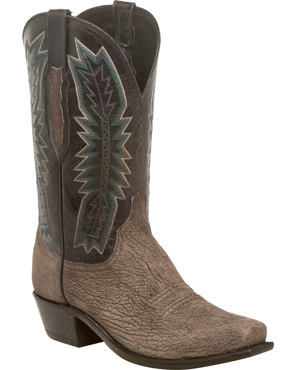 Lucchese Men's Handmade Harrison Charcoal/Black Sueded Sheep Western Boots - Snip Toe, Grey, hi-res