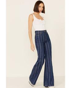 Wrangler Women's Laser Stripe Flare Jeans, Blue, hi-res